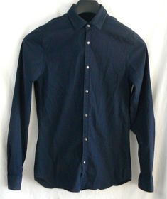 A/X Armani Exchange Slim Fit Blue Striped Stretch Long Sleeve Shirt Size XS #ArmaniExchange #ButtonFront