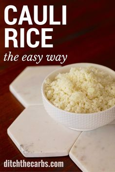 An absolute low carb staple. Pin for later. How to make cauliflower rice, the easy way. Follow this recipe for a simple way to make cauliflower rice. You can adapt and flavour cauliflower rice any which way you like. | ditchthecarbs.com: