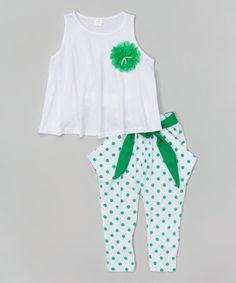 White & Green Dot Swing Tank & Pants - Infant, Toddler & Girls by Leighton Alexander #zulily #zulilyfinds