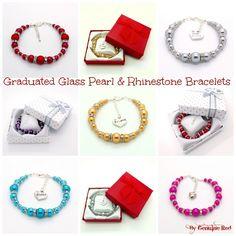 'Graduated Glass Pearl & Rhinestone' bracelet collection