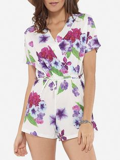Loose Fitting Dacron Floral Printed Rompers #Bottoms, #Fashion, #Rompers, #Womens