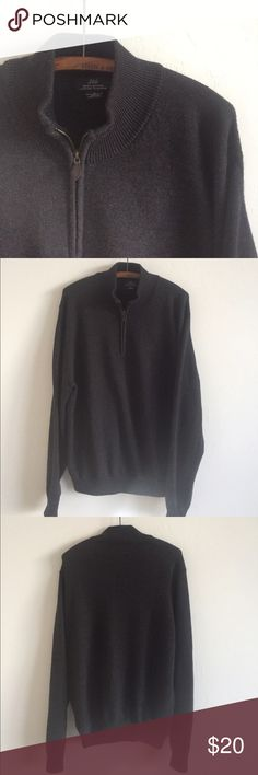 Mens merino wool brooks brothers Extra fine Italian merino wool 1/2 zip sweater. Good condition w a leather pull Brooks Brothers Sweaters