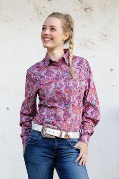 Ladies Pink Western Shirt | Long Sleeve Ladies Ladies Western Shirts, Ladies Shirts, Work Shirts, Western Wear, Westerns, Paisley, Long Sleeve Shirts, Shirt Dress, Lady