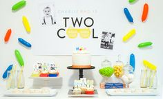 """Christy, of ItsyBelle, is sharing her son's second birthday that is just """"two"""" cool. We are loving the sweet sprinkle backdrop and sunglasses accents. 2nd Birthday Boys, 2nd Birthday Party Themes, Boy Birthday Parties, Birthday Party Decorations, Birthday Ideas, Party Co, Party Plan, Party Ideas, First Birthdays"""