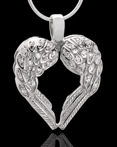 Winged Memories Heart Cremation Urn Pendant $89.99