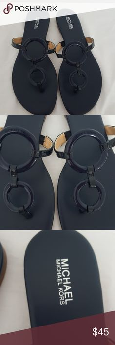 Michael Kors  Claudia Flat Slippers 🚫All communications through Poshmark comment box. ▪Authentic  ▪Patten leather  ▪Size 8 ▪Color-Navy ▪2 Circle in front 🚫I will not engage in lowball OFFERS 🚫No Trades Michael Kors Collection Shoes Slippers