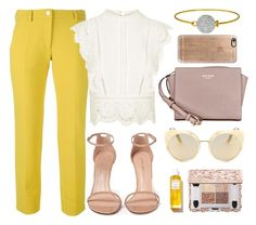 """How to Style: Bright Pants"" by monmondefou ❤ liked on Polyvore featuring Versace, Quay, Kate Spade, Topshop, Stuart Weitzman, Rodin, Casetify, yellow, beige and bright"