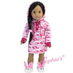 Pink Camouflage Hooded Nightgown and Hair Elastic | http://sweetiecheeks.com/product/pink-camouflage-hooded-nightgown-and-hair-elastic/