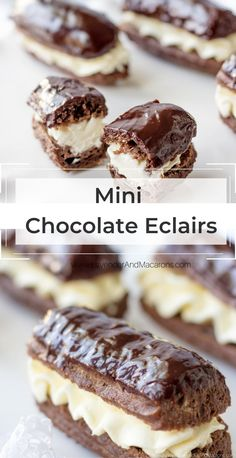 If you ever wanted to make chocolate eclairs, but hesitated, start with this recipe of Mini Chocolate Eclairs. They are easier and faster to make that traditional eclairs and taste absolutely scrumptious. This easy choux pastry filled with aromatic pastry cream then chocolate covered is one of the most famous and most delicious desserts ever created. Chocolate Eclairs, Chocolate Desserts, My Food Pyramid, Delicious Desserts, Yummy Food, Vegetarian Recipes, Cooking Recipes, Scottish Recipes, Choux Pastry