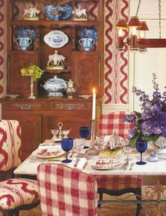 Room of the Day: Iconic print in raspberry instead of blue - love it with the check, warm wood and blue and white china ~ Charles Faudree 7.31.2013
