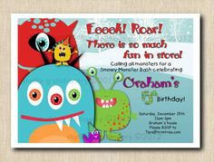 SNOW Monsters Birthday Party  12 by StudioGStationery on Etsy, $24.00