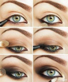 Smoky Eye How to with Merle Norman Cosmetics products.  First prep with Lasting Cream Eyeshadow in Ivory.  Sweep a thin layer of Bare eyeshadow.  Line with Soft Touch Eye Pencil in Blackout.  Then use Truffle for step 3, more eyeliner in step 4, and apply Espresso over eyeliner and smudge.  Place a golden shimmer in the inner corner to brigthen.>> dramatic makeup ...hot shit!!