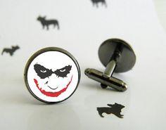 Boutons de manchette Joker faits à la main  - Boutons de manchette en métal argenté, bronze ou black gun - Cabochon en verre de 16mm -