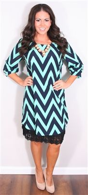 Navy and Mint Chevron Dress, Modest Dresses, Church Dresses, lds, lds clothing, skirt extender, chevron, chevron print, mint, mint chevron, ...