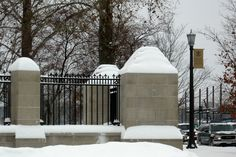 Snow on the fence, Notre Dame Avenue and Angela Boulevard. (Adam McIntosh/Flickr)