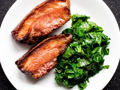Jowl bacon transforms into a decadent meal when braised in bourbon and cider and served as seared steaks. Get the recipe at Food & Wine. Slow Cooked Pork Shoulder, Pork Shoulder Steak, Bacon Recipes, Steak Recipes, Wine Recipes, Bacon Steak, Braised Pork Belly, Roasted Apples, Marinated Pork