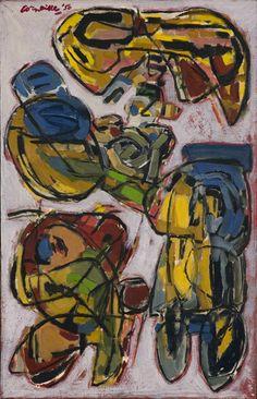 Corneille (1922-2010) brengt samen met Karel Appel enige tijd door in Parijs. De schok van Budapest wordt nog versterkt wanneer hij hier kennis maakt met de Denen Asger Jorn en Carl-Henning Pedersen. Vooral de vogels die in het werk van de Denen voorkomen maken grote indruk op hem. Ook is de invloed van Miro duidelijk zichtbaar in uitbundig vrolijke vormen en kleuren. Abstract Expressionism, Abstract Art, Cobra Art, Dutch Artists, Art Studies, Artist At Work, Art Boards, Painting & Drawing