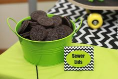 Sewer lid Oreos at a Teenage Mutant Ninja Turtle boy birthday party!  See more party planning ideas at CatchMyParty.com!