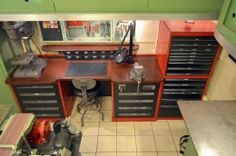 Workbench Homemade workbench constructed from a pair of tool cabinets and a surplus butcher's block