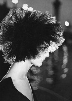 August 1957    Wearing tulle hat by Lanvin-Castillo. Photographed by Richard Avedon.    This is AMAZING. Love the lighting, so dramatic and exciting.