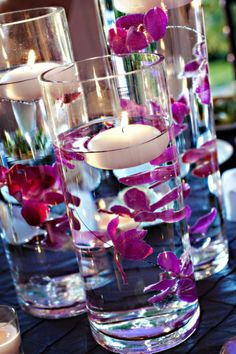 Submerged flower and floating candle centerpiece