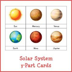 Montessori cards featuring 10 objects from our solar system, including the sun, moon, and all eight planets. Great for kids! Mars Pictures, Solar System Planets, Our Solar System, Sistema Solar, Solar System Pictures, Planet Pictures, Solar System Projects, Lesson Plans For Toddlers, Geography