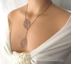 leaf lariat necklace nature jewelry leaf pendant by KriyaDesign, $25.00