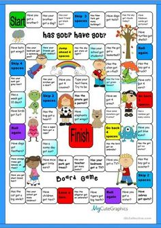 Boardgamre:Has Got & Have Got English Games, English Activities, English Class, English Lessons, Learn English, French Lessons, Spanish Lessons, Learn French, English Vocabulary