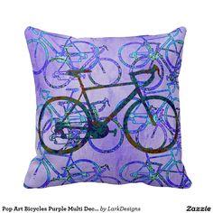 Pop Art Bicycles Purple Multi Decorative Throw Pillow