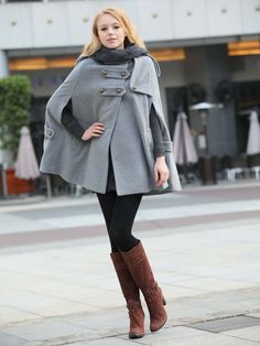 Tip #5: A structured or draped cape adds a touch of class to Fall outerwear. www.fashioncompassion.ca