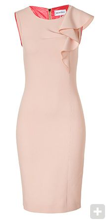 Emilio Pucci - Colonial Rose Wool Sheath Dress. Round neck, sleeveless, pleat detail at bust, asymmetrical ruffle detail at shoulder, fitted silhouette, exposed back zip closure. Material: 98%Wool 2%Elastane