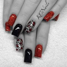 Red, black, silver & leopard print acrylic nails. KCNails