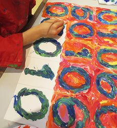 Jasper Johns inspired art lesson. 2nd graders used their birthdays for the number sequence rather than 0-9 as Johns did. They painted in Warm and Cool colors.