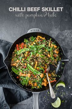 Low-Carb Chilli Beef Skillet with Pumpkin & Kale