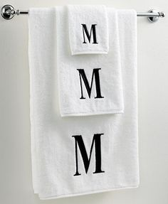 Avanti Bath Towels, Black and White 12 Dry off in your signature style with monogrammed towels from Avanti. Embroidered with a single capital letter in Bodoni font, this combed cotton fingertip towel makes it easy to personalize your bath. Monogram Towels, Monogram Initials, Monogram Gifts, Bathroom Towels, Bath Towels, Paris Bathroom, Bathroom Black, Bath Linens, Guest Towels