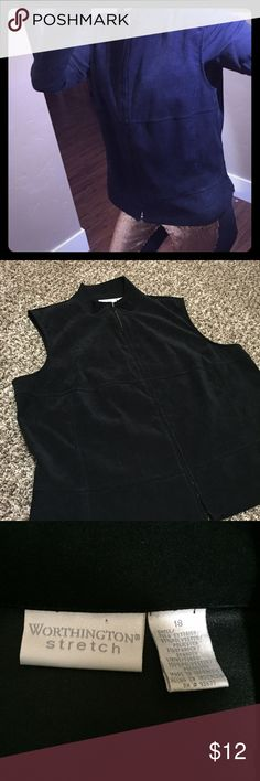 """Luxurious Suede-like Vest Beautiful black vest from Worthington Stretch. Size 18. Chest measures 22.5"""" flat. Excellent condition.   Thank you for viewing and sharing. Be sure to check out the rest of my eclectic closet. Worthington Jackets & Coats Vests"""