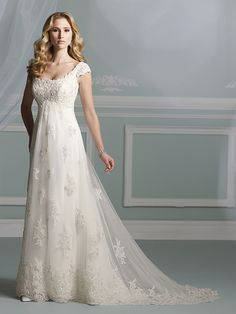 A-line Square Lace Satin Chapel Train Ivory Appliques Wedding Dresses at Millybridal.com