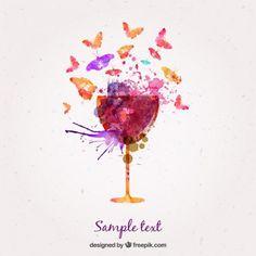 Copa de vino y mariposas en acuarela