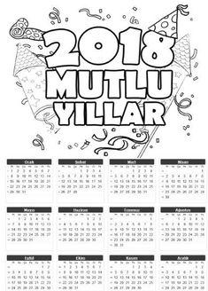 2018 tek sayfa takvim kalıpları ve boyama sayfası