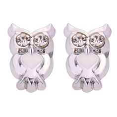 Amazon.com: Yazilind Jewelry Cute Round Sparkling Silver White Owl Magnetic Earrings Studs Alloy 9mmChristmas Gift for Women & Girls: Yazili...
