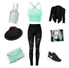 """Outfit for my character on wattpad"" by nevaeh-mae on Polyvore featuring LE3NO, WithChic, NIKE, Apt. 9 and Essie"