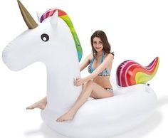 GIANT POOL FLOAT INFLATABLE RAFT UNICORN 9 FT FAST INFLATE WATER TOY ADULT LARGE #Jasonwell