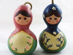 Hand painted gourd dolls.