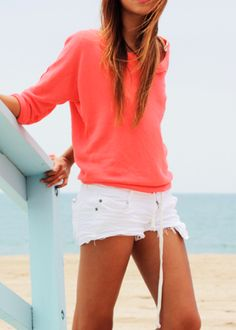 White cutoffs and a comfy shirt.