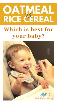 Between oatmeal vs rice cereal, which one should you choose? Both rice and oatmeal cereals have their pros and cons. Read on to find out! Rice Cereal In Bottle, Rice Cereal Baby, Best Baby Cereal, Cereal For Babies, Oatmeal For Baby, Baby Oatmeal Cereal, Oat Cereal, Baby First Foods, Baby Foods