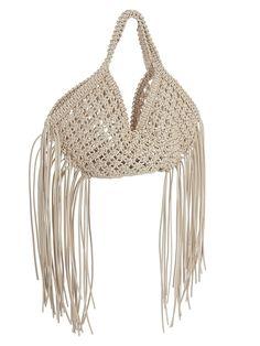 Macrame Bag, Basket Bag, Trends, Fringe Trim, Fun Crafts, Crochet Top, Knitting, Leather, Bags
