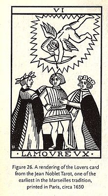 LOVERS | Jean Noblet Tarot | One of the earliest in the Marseilles tradition | Printed in Paris, 1650