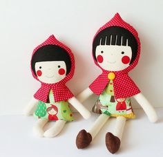 Mini Red Riding Hood doll. Rag doll for baby and toddler. by blita