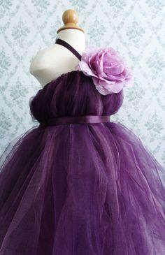 Beautiful Flower Girl Tutu Dress, Photo Prop, in Deep Purple,  with Delicate Oversized Purple Flower. $52.00, via Etsy.