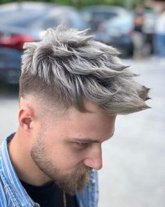 25 best hair color ideas for men in 2019 мужская мода haircuts for men, men Mens Hair Colour, Cool Hair Color, Mens Medium Length Hairstyles, Cool Hairstyles, Pelo Color Ceniza, Hair And Beard Styles, Curly Hair Styles, Beard Lover, Moustaches